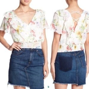 CodexMode Ruffle Cropped Blouse White Floral S